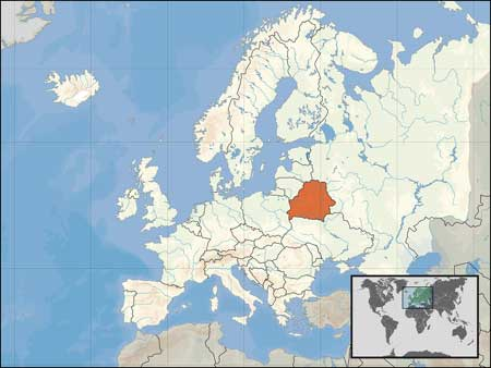 Location of Belarus on the map of Europe.